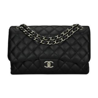 Chanel Classic Jumbo Double Flap Black Caviar Bag