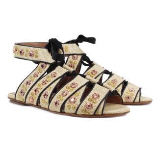 Alaia Rose Gold Stud Embellished Pale Woven Flats Sandals
