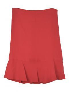 Valentino Red Silk Skirt