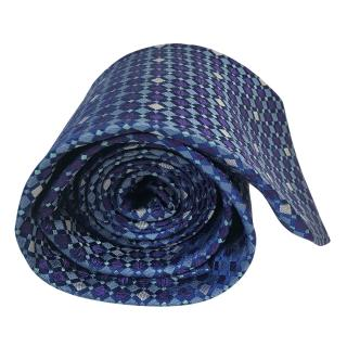 Pierre Balmain Grenadine On Blue Classic Woven Silk Necktie