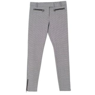 Veronica Beard Houndstooth Wool-Blend Trousers