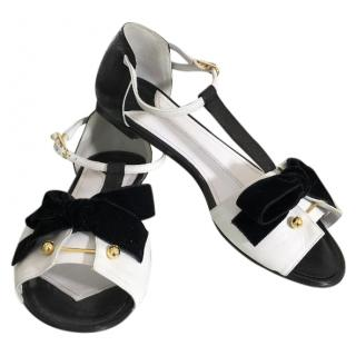 Chanel Black and White Leather Flat Sandals