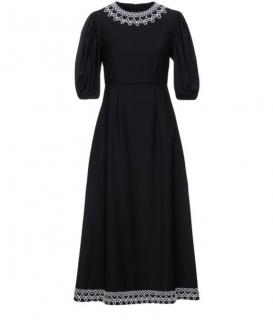 Paskal Black Wool Puffball Sleeve Midi Dress with Lace Detailing