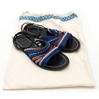 Tory Burch Embroidered Leather Sandals