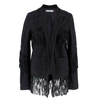 Chelsea Flower Black Suede Fringed Jacket