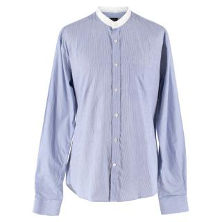 Joseph Blue and White Pinstripe Button-Up Top