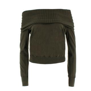 Alexander McQueen Wool-Blend Bardot Sweater
