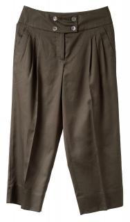 Sportmax Chocolate brown cotton Cropped wide leg Trousers