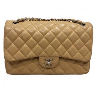 Chanel Beige Lambskin Classic Jumbo Double Flap Bag