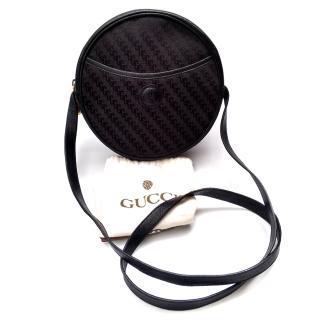 Gucci Vintage GG Monogram Black Round Shoulder Bag.