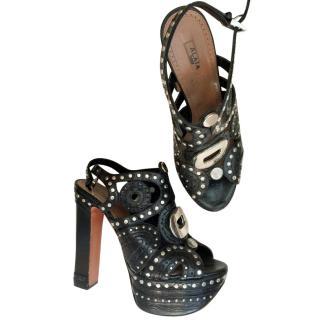 Azzedine Alaia Studded Back Platform Sandals