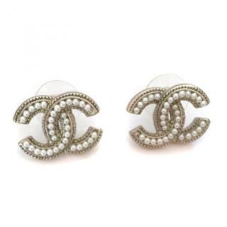 Chanel Stud Faux Pearl Earrings