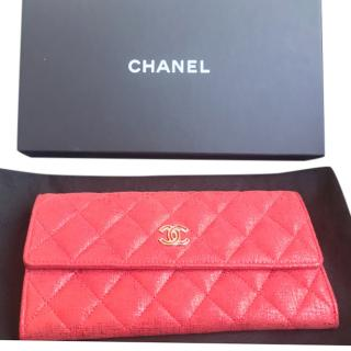 Chanel Red Quilted Wallet