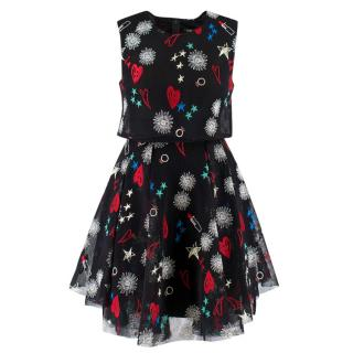 Maje Star & Floral Embroidered Mesh Dress