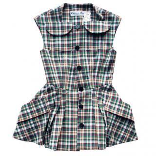 Dior runway checked green vest top