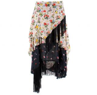 Preen Line Silk Floral Tassel Skirt
