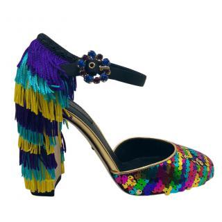 Dolce & Gabbana Sequins & fringes heeled sandals