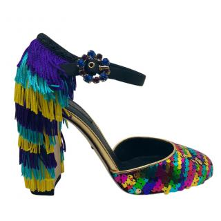 Dolce & Gabbana Sequins & fringes heeled sandals