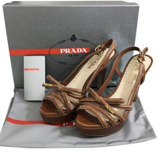 Prada Brown Slingback Strappy Sandals