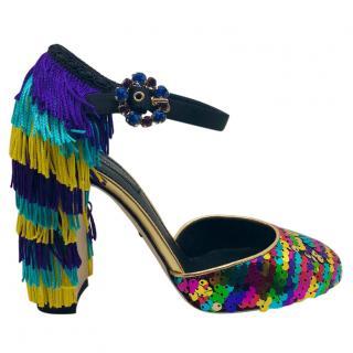 Dolce & Gabbana Fringed Sequin Sandals