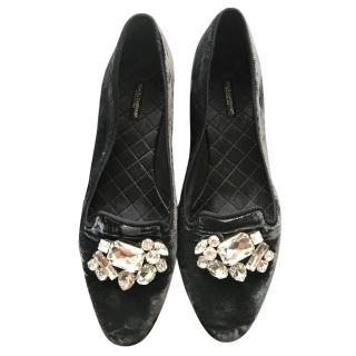 Dolce & Gabbana dark grey velvet crystal loafers