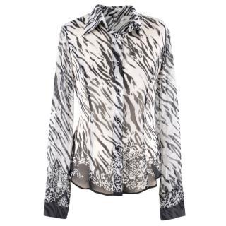 Versace Jeans Zebra Printed Silk Blouse