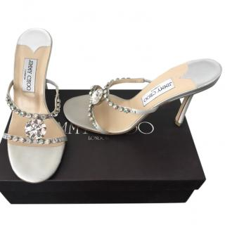 Jimmy Choo Embellished Crystal Slip on Sandals