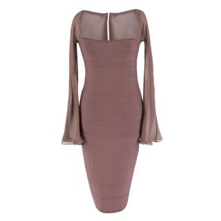 Herve Leger Low Neck Midi Bandage Dress