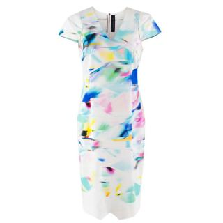 Roland Mouret Abstract Print Midi-Length Dress