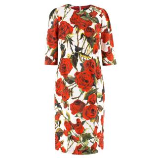 Dolce & Gabbana Rose Print Jacquard Dress