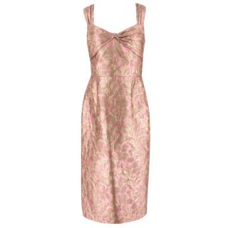 Prada Pink and Gold Jacquard Midi Dress