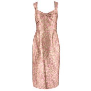 Prada Pink and Gold Jacquard Midi Dress