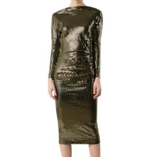 Vivienne Westwood Anglomania Black and Gold Gathered Dress