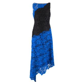 Badgley Mischka Blue and Black Lace Dress