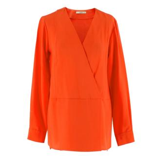 Etro Orange Poppy Long-Sleeve Silk Top
