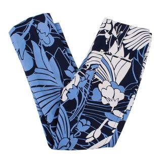 Miu Miu Blue and White Floral Patterned Trousers
