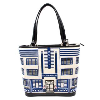 Lulu Guinness Hotel Patterned Tote with Striped Clutch