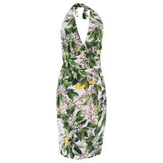 Dolce & Gabbana Leaf/Floral Silk Halter Dress