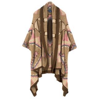 Ralph Lauren Brown Patterned Silk Knit Cardigan