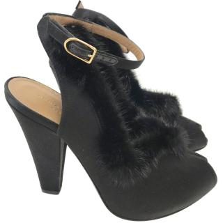 Sonia Rykiel Mink Fur Peep-Toe Heels