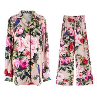 Dolce & Gabbana Rose Silk Pyjama-Style Suit