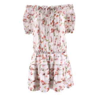 Dolce & Gabbana Cherry Printed Silk Bardot Dress