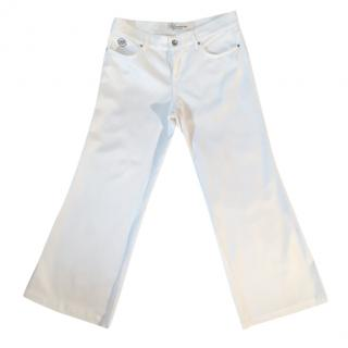 Blumarine White Stretchy Wide Leg Culotte Jeans