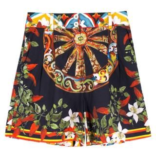 Dolce & Gabbana Black and Multi-Colored Abstract Shorts