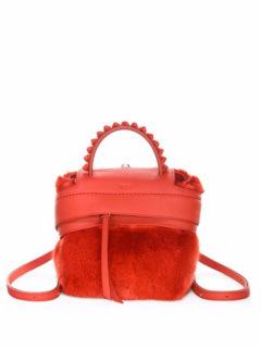 Tod's Red Wave Mink Fur Trimmed Leather Backpack