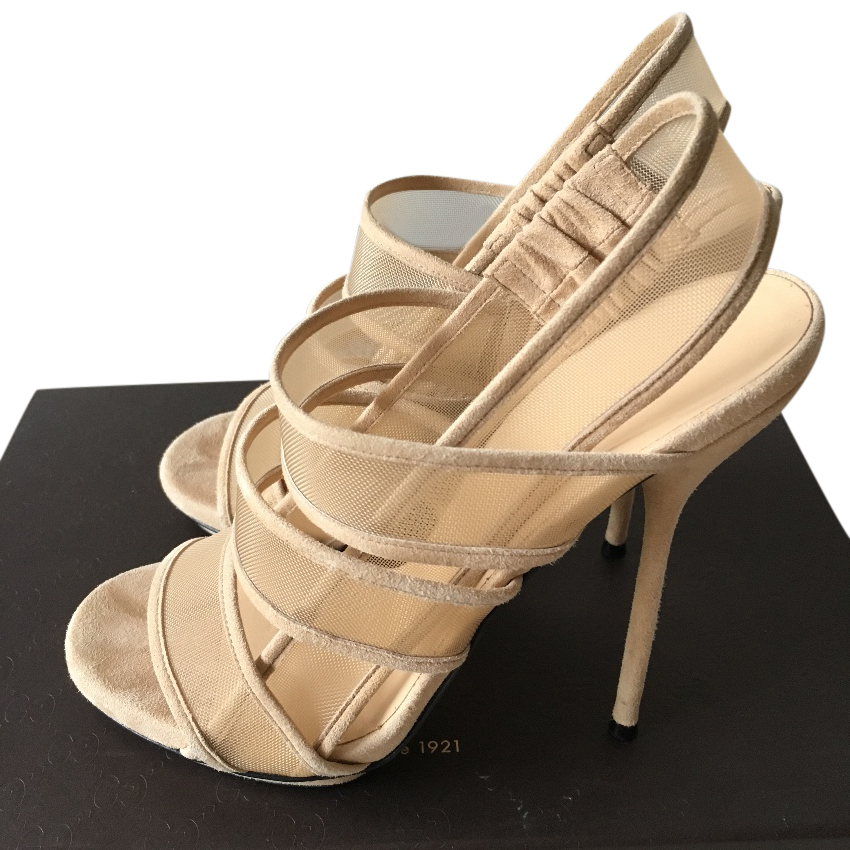 Gucci Nude Mesh Sandals   HEWI