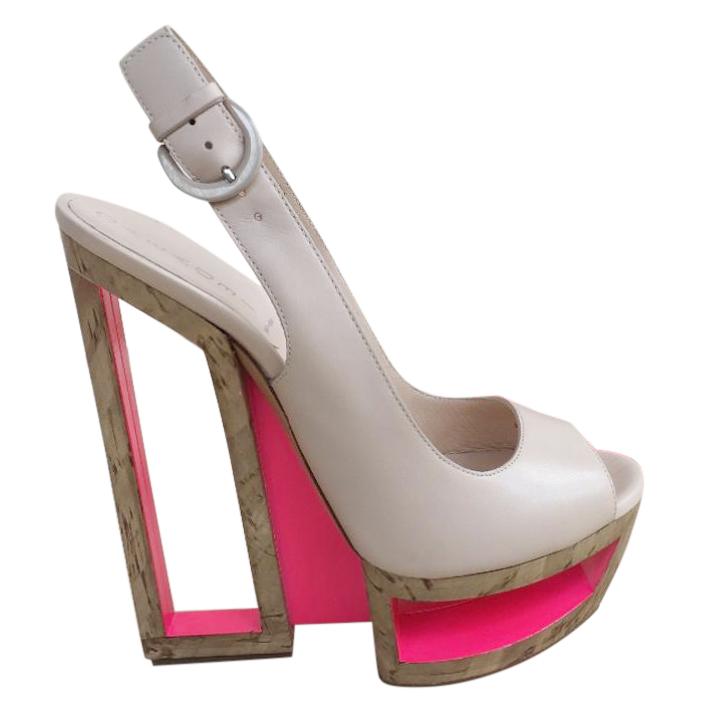 Casadei Sweet Nude Slingback Platform Sandals