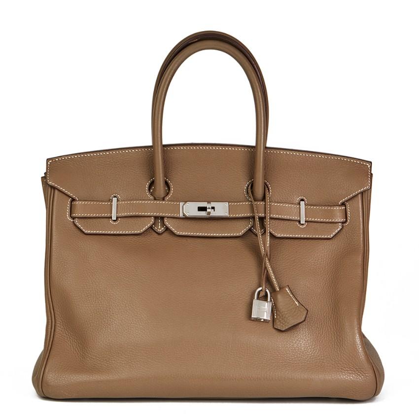 Hermes Etoupe Togo Leather 35cm Birkin Bag