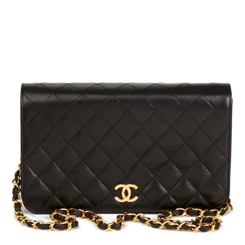 760a3fc9e456ae Chanel Black Lambskin Vintage Small Classic Single Full Flap Bag ...