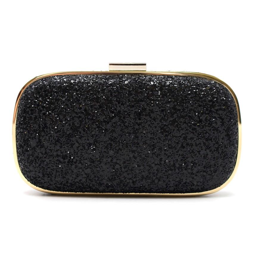 Anya Hindmarch Black Glitter Clutch Bag   HEWI London 66a1fe0c6e